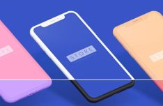 Perspective iPhone X Clay PSD & Sketch Mockup