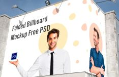 Folded Wall Billboard PSD Mockup