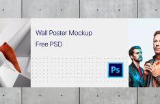 Wall Banner Poster PSD Mockup
