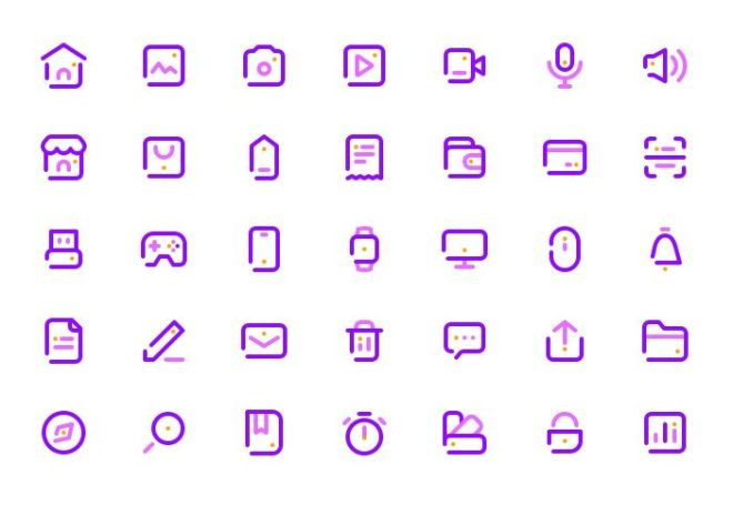 35 Outline UI Icons For Sketch