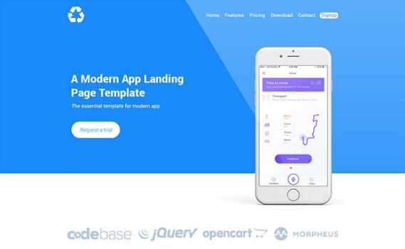 BEPZA Minimal Clean App Landing Page PSD Template