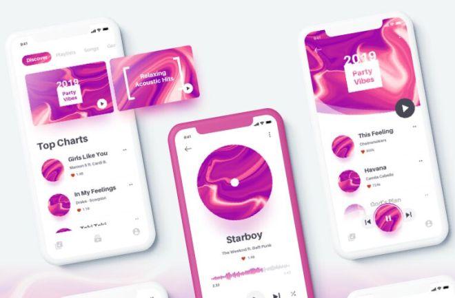 Elegant Music App UI Kit For Sketch