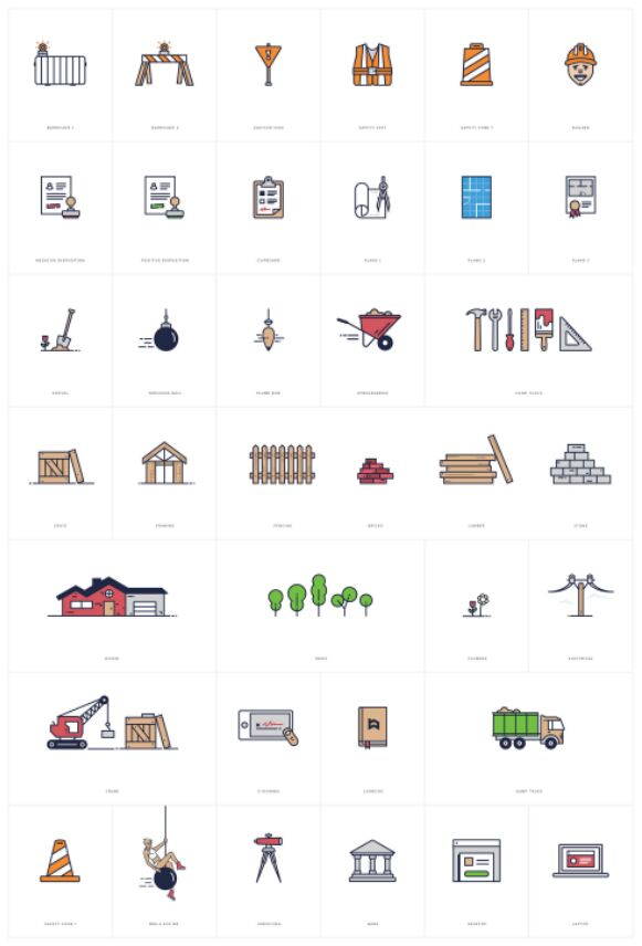 48 Building and Construction Vector Icons