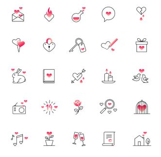 25 Sweet Valentine's Day Icons Vector
