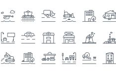 18 Transport And Industry SVG Vector Icons