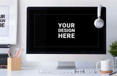 Realistic iMac & Photo Frame PSD Mockup