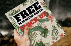 Realistic Magazine Cover PSD Mockup