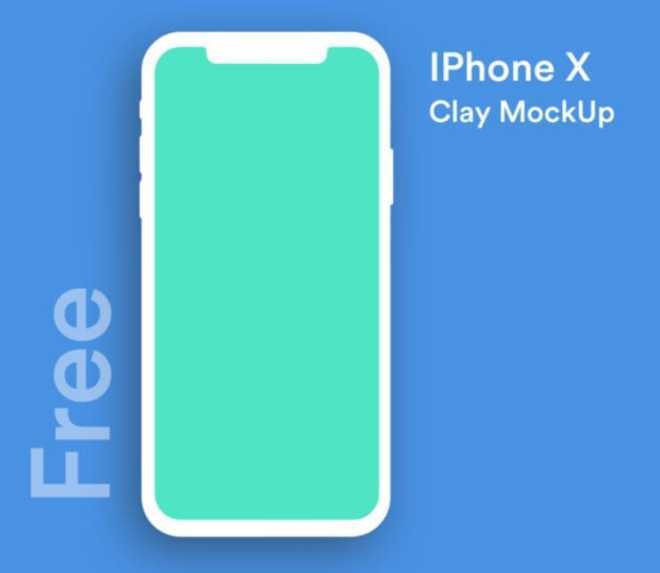 Minimal iPhone X Clay Mockup (PSD, Sketch And XD)