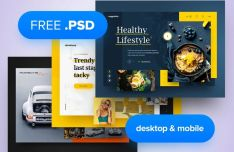 3 Fashion Hero Header Templates PSD