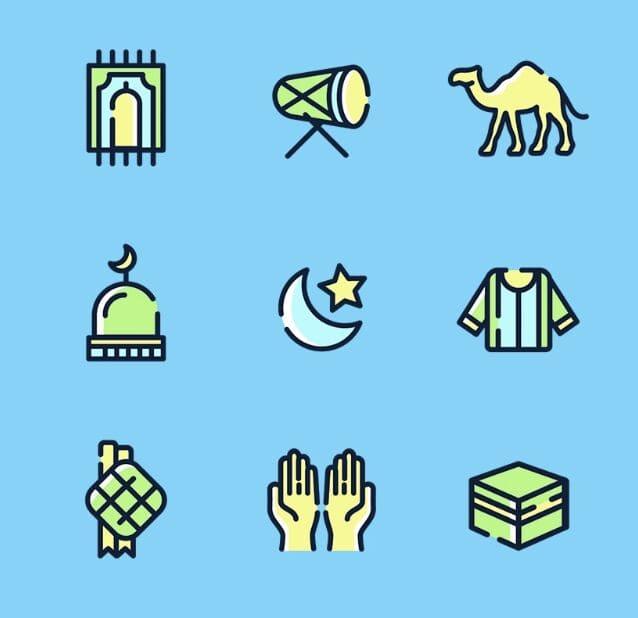 9 Eid Mubarak Icons (PNG+SVG)