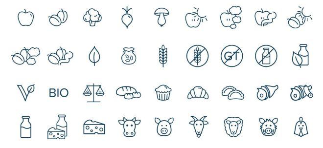 36 Healthy Food Icons Vector