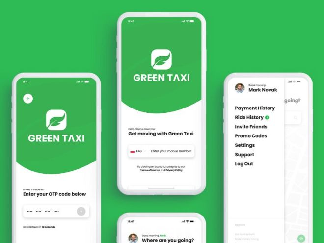 Green Taxi App UI Kit For Adobe XD
