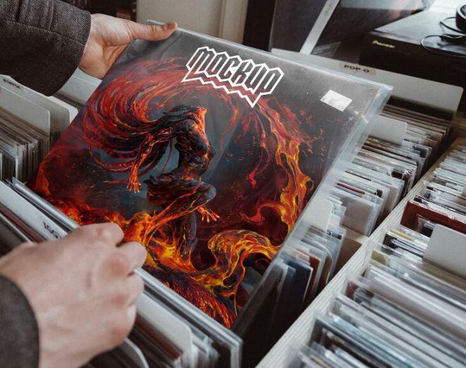 Realistic Vinyl Cover Mockup