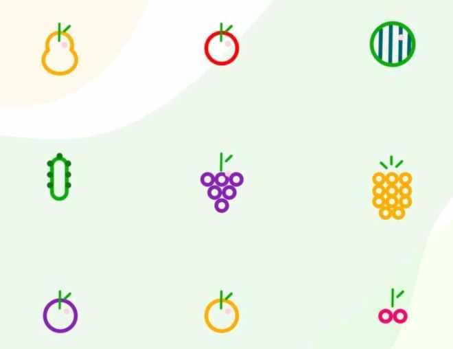 6 Minimal Fruit Icons PSD