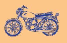Honda CB100 Glatik Vintage Motorcycle Vector