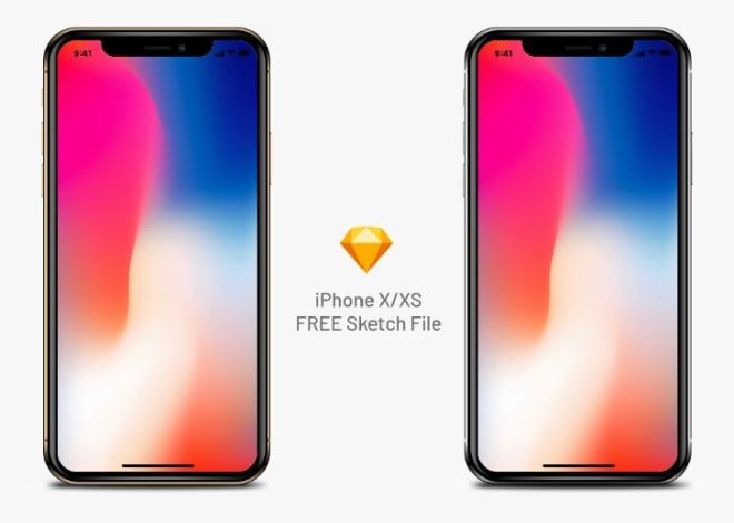 Realistic iPhone X XS Sketch Mockup