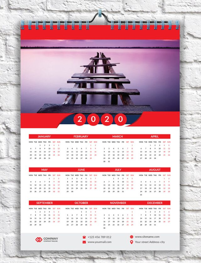 Red Wall Calendar 2020 PSD