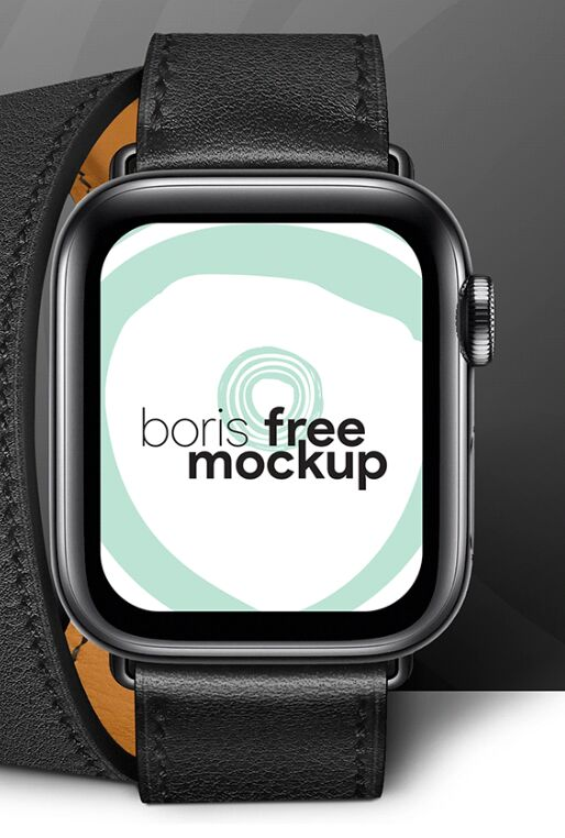 Realistic Black Apple Watch 5 PSD Mockup