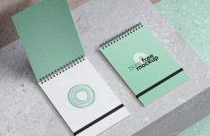 Realistic Spiral Notebook PSD Mockup