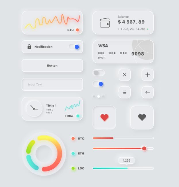 Tiny Neumorphism UI Kit For Sketch App