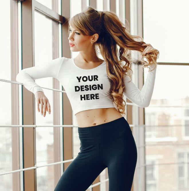 Realistic Women's Long Sleeve T-Shirt PSD Mockup