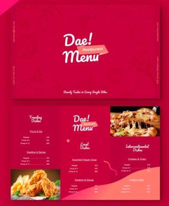Tri-fold Restaurant Menu Template (AI)