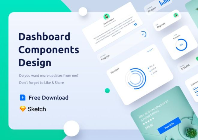 Clean Dashboard UI Component Kit For Sketch
