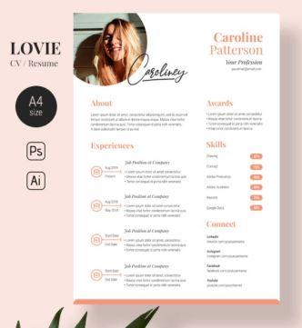 A4 Size Lovie CV Resume Template