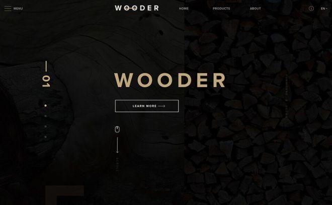 Wooder Dark Web Template PSD