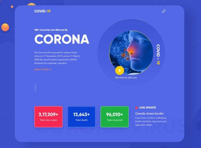 Elegant Coronavirus Disease (COVID-19) Landing Page Template For Sketch