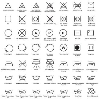 49 Laundry Guide Line Icons Vector