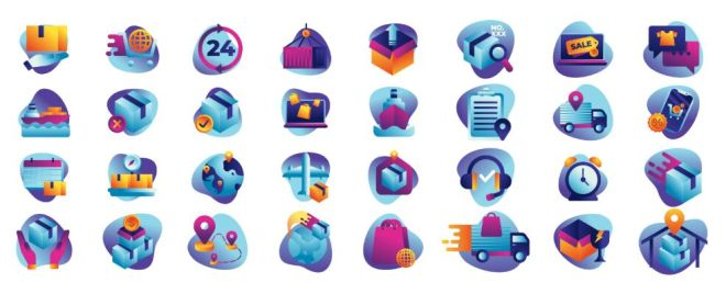 32 Delivery & E-commerce Icons Vector