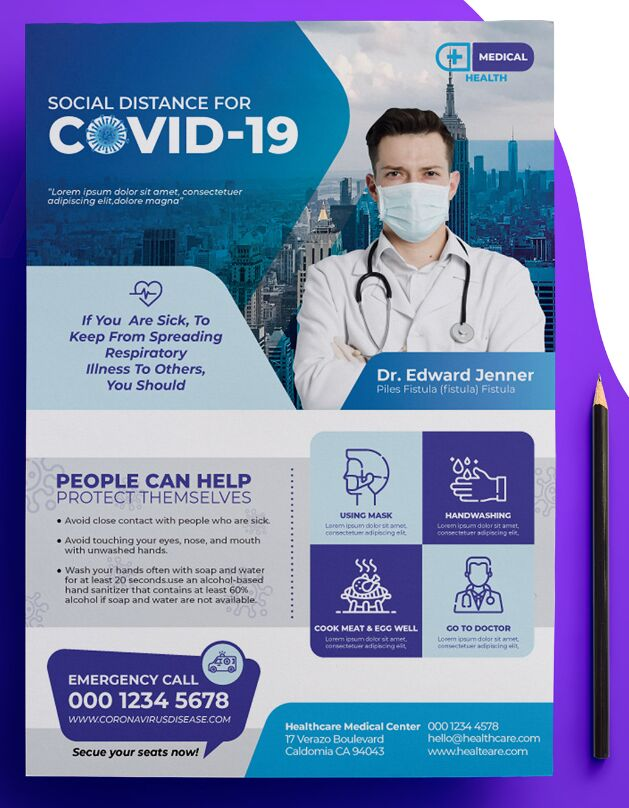 Professional COVID-19 Flyer Template PSD