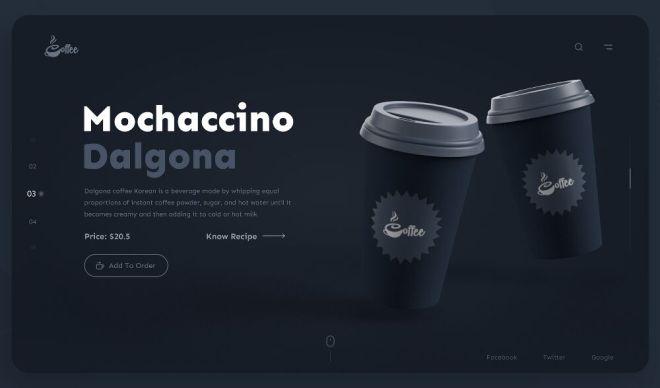 Dark Coffee Landing Page For Adobe XD