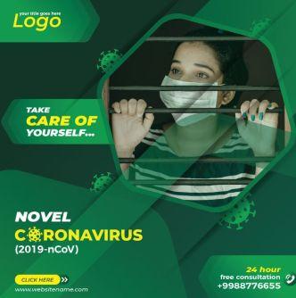 Coronavirus Social Media Template Vector
