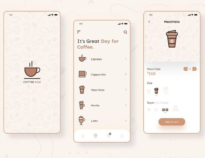 Clean Coffee Shop App UI Design For Adobe XD