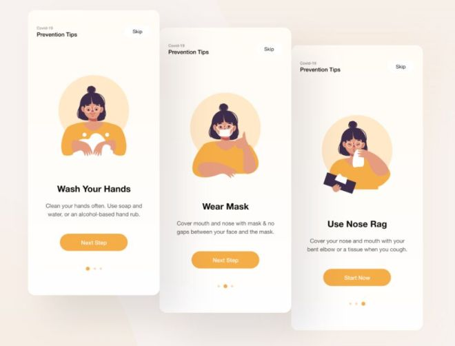 Covid-19 Onboarding Design For Mobile App