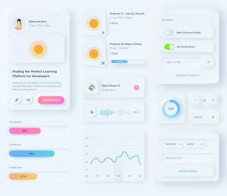 Pretty Cool Neumorphic UI Kit For Sketch