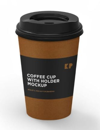 High Solution Coffee Cup With Holder Mocksup PSD