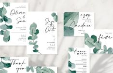 Elegant Wedding Stationery PSD Mockup