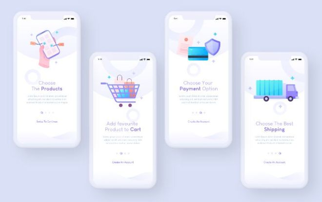 Minimal eCommerce App Onboarding UI For XD
