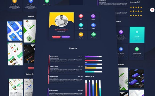 One Page Resume CV Template Adobe XD