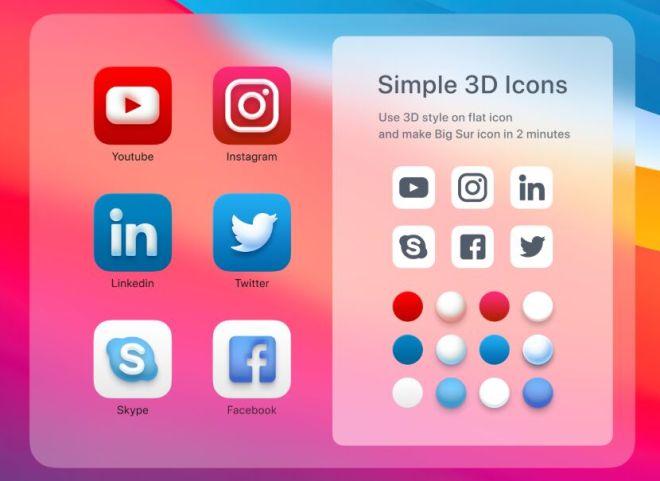 3D Big Sur Style App Icons Figma