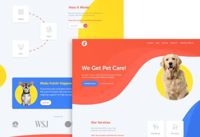 Pet Care Landing Page Template Adobe XD