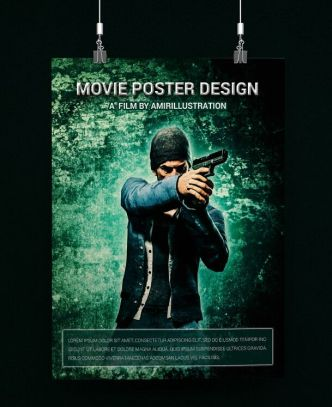Movie Poster Template PSD Mockup