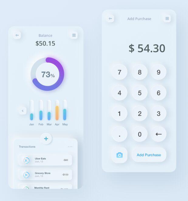Neumorphic Style Finance App & Calculator Design