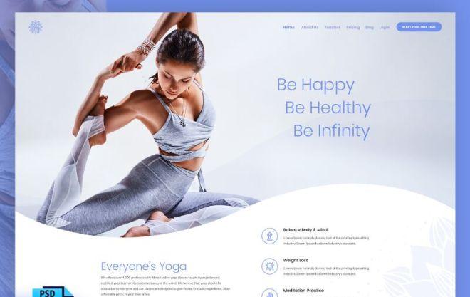 Fashion Yoga Website Templage PSD