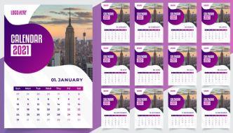 Desk Calendar 2021 Vector Template