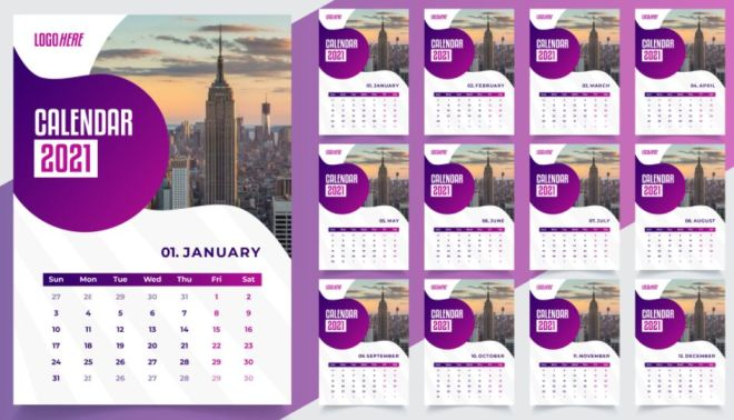 Desk Calendar 2021 Vector Template