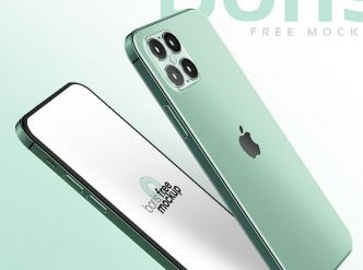 Green iPhone 12 Concept Mockup PSD
